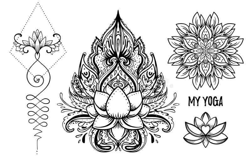 Sistema de elementos styles ornamentales de la elegancia de Boho Illustr de Budda del vector stock de ilustración