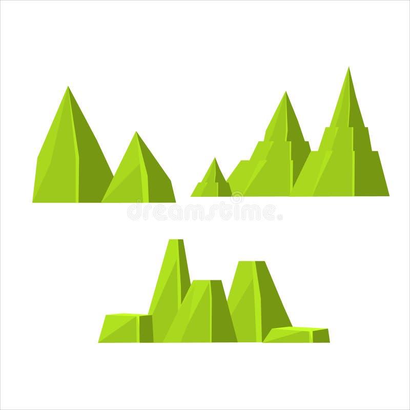 Sistema de elementos verde de la roca stock de ilustración
