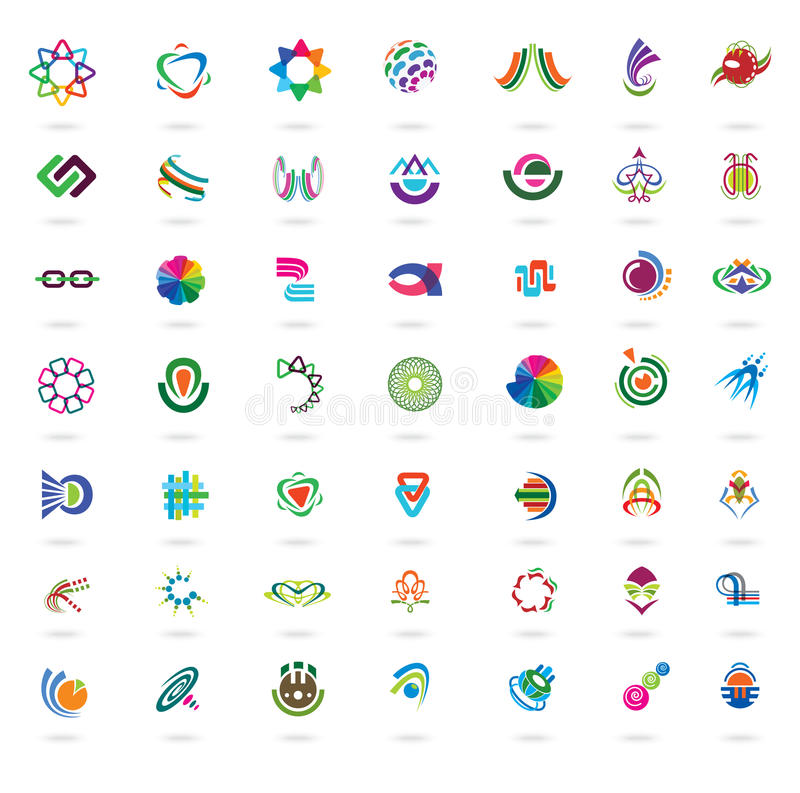 Sistema de elementos y de iconos coloridos abstractos del diseño libre illustration