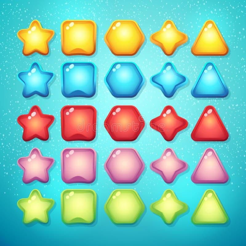 Sistema de elementos y de símbolos de los botones para el interfaz y el comput del web ilustración del vector