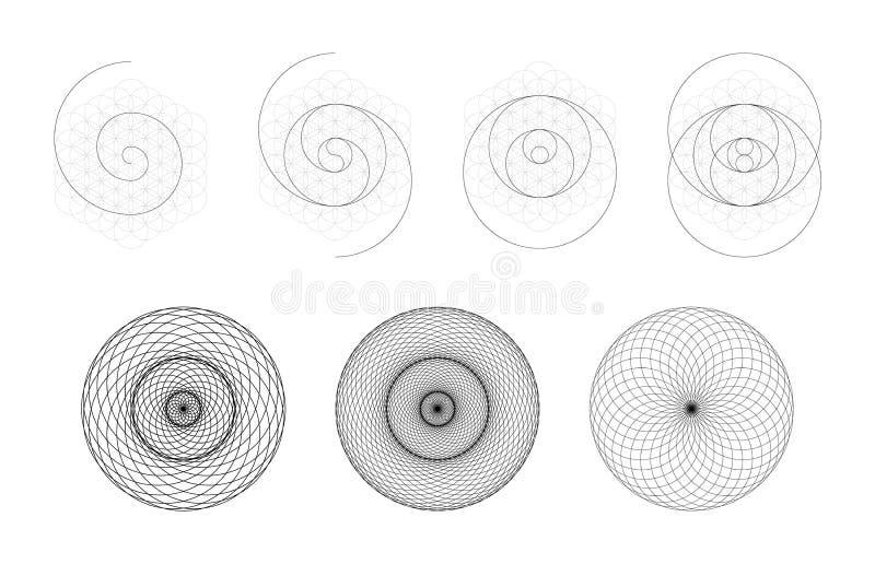 Sistema de elementos y de formas geométricos Toro sagrado Yantra de la geometría o desarrollo hipnótico del ojo ilustración del vector