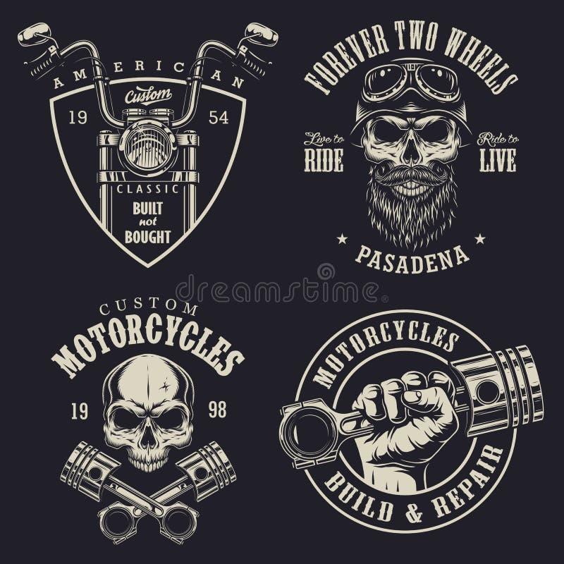 Sistema de emblemas de encargo de la motocicleta stock de ilustración