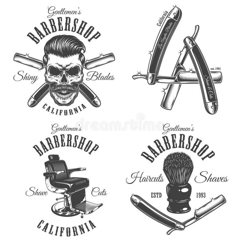 Sistema de emblemas de la barbería del vintage stock de ilustración