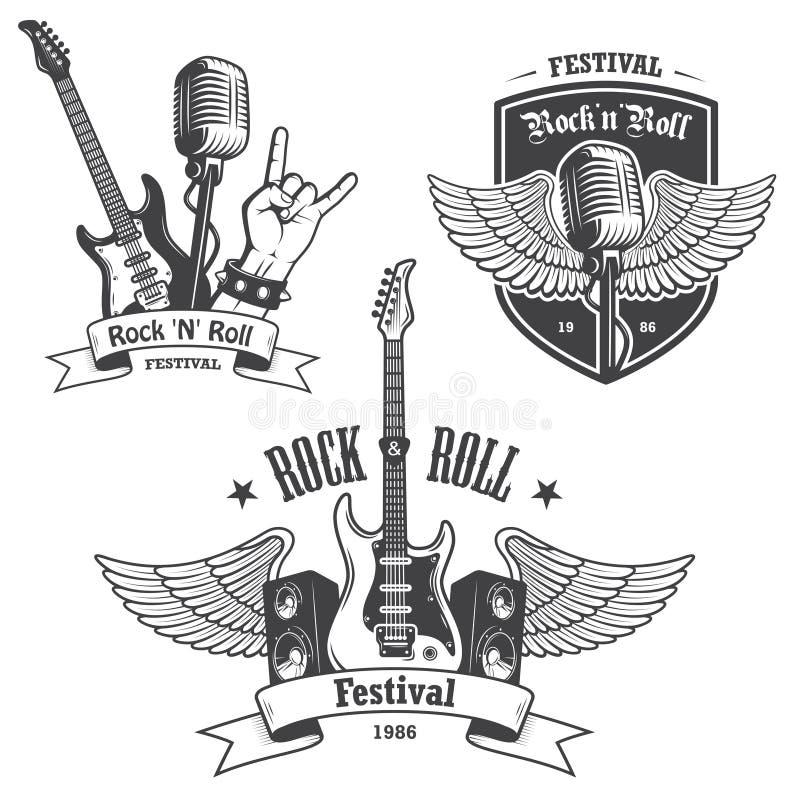 Sistema de emblemas de la música del rock-and-roll imágenes de archivo libres de regalías