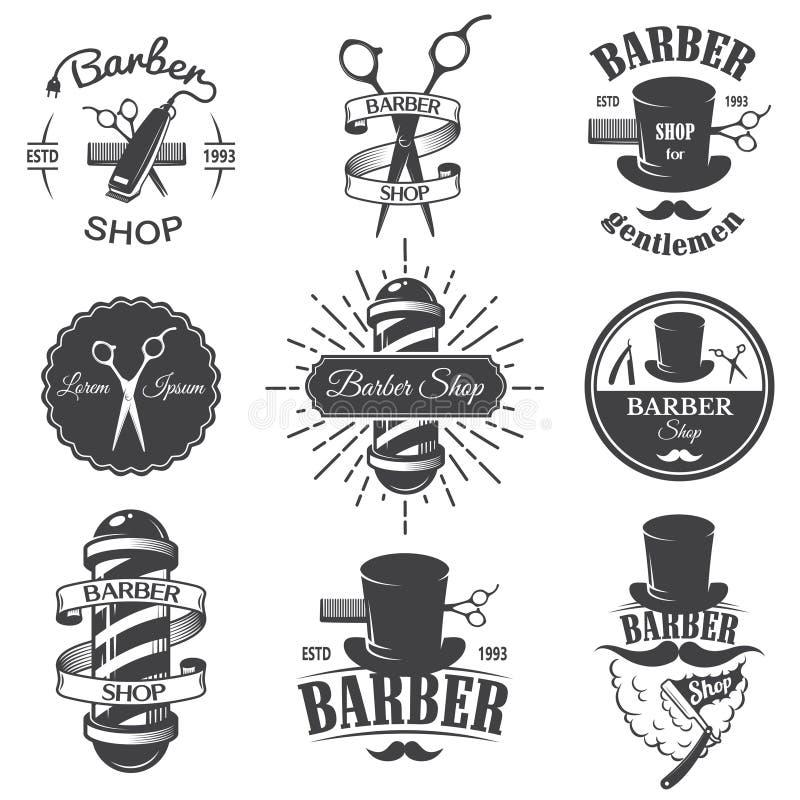 Sistema de emblemas de la peluquería de caballeros del vintage fotos de archivo