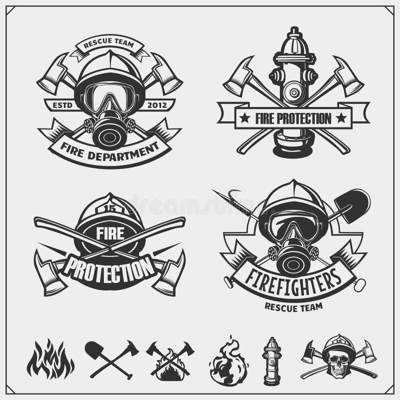 Sistema de emblemas del bombero, de etiquetas y de elementos del diseño stock de ilustración