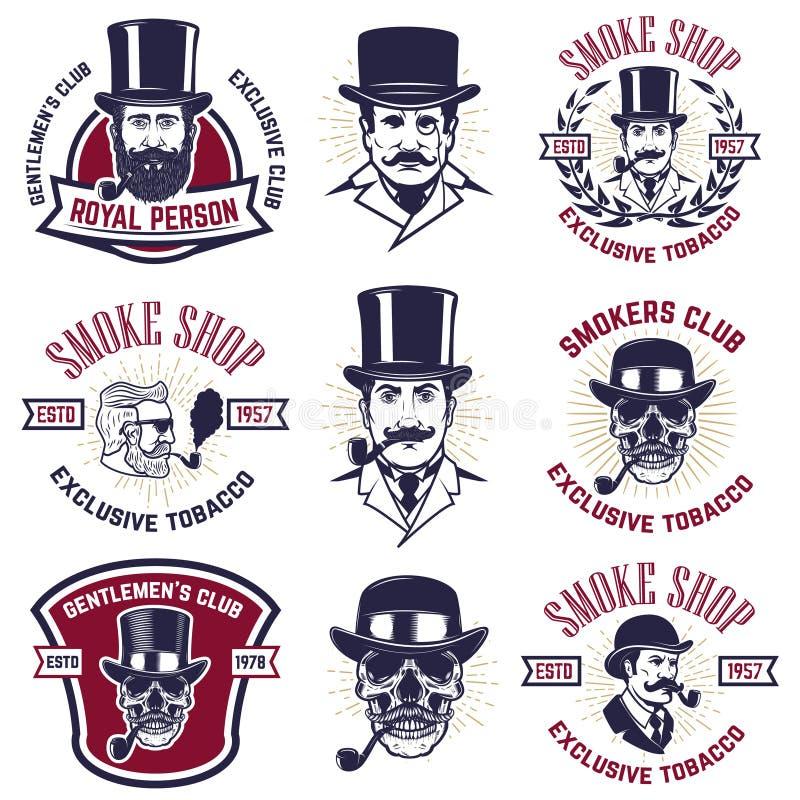 Sistema de emblemas del club de los fumadores Retratos de los gentlemans del vintage con los tubos que fuman Diseñe el elemento p stock de ilustración