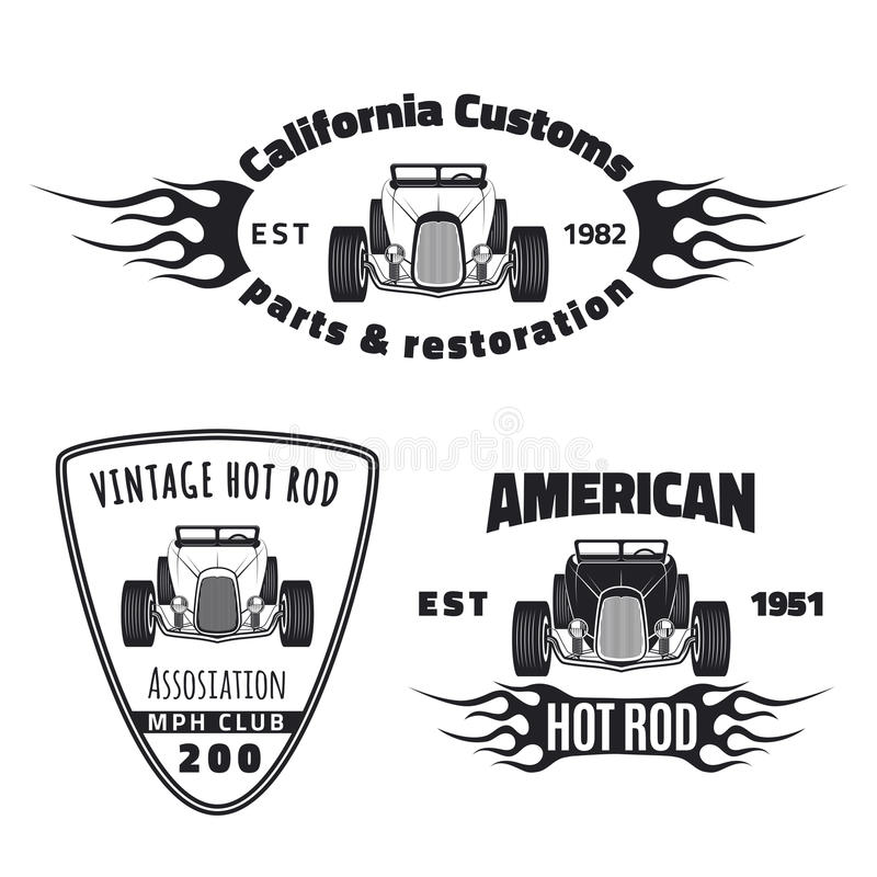 Sistema de emblemas del coche de carreras ilustración del vector