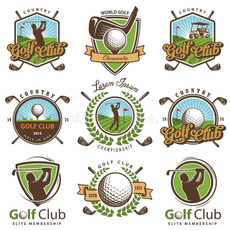 Sistema de emblemas del golf del vintage ilustración del vector