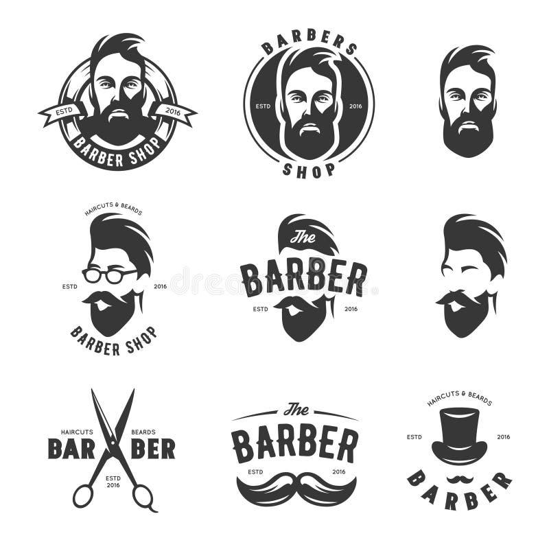 Sistema de emblemas del vector de la peluquería de caballeros del vintage, de etiqueta, de insignias y de elementos del diseño libre illustration