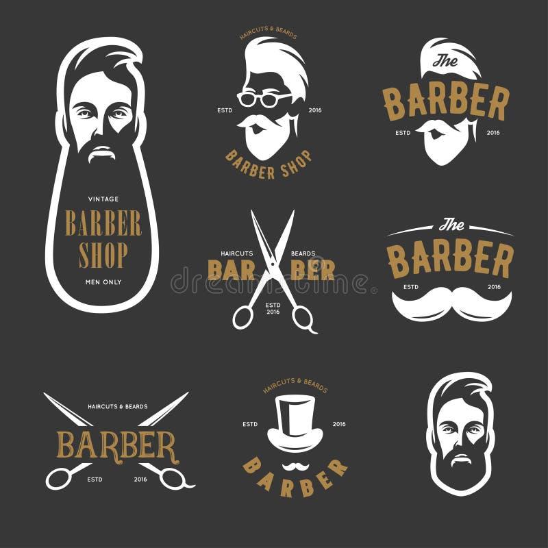 Sistema de emblemas del vector de la peluquería de caballeros del vintage, de etiqueta, de insignias y de elementos del diseño stock de ilustración