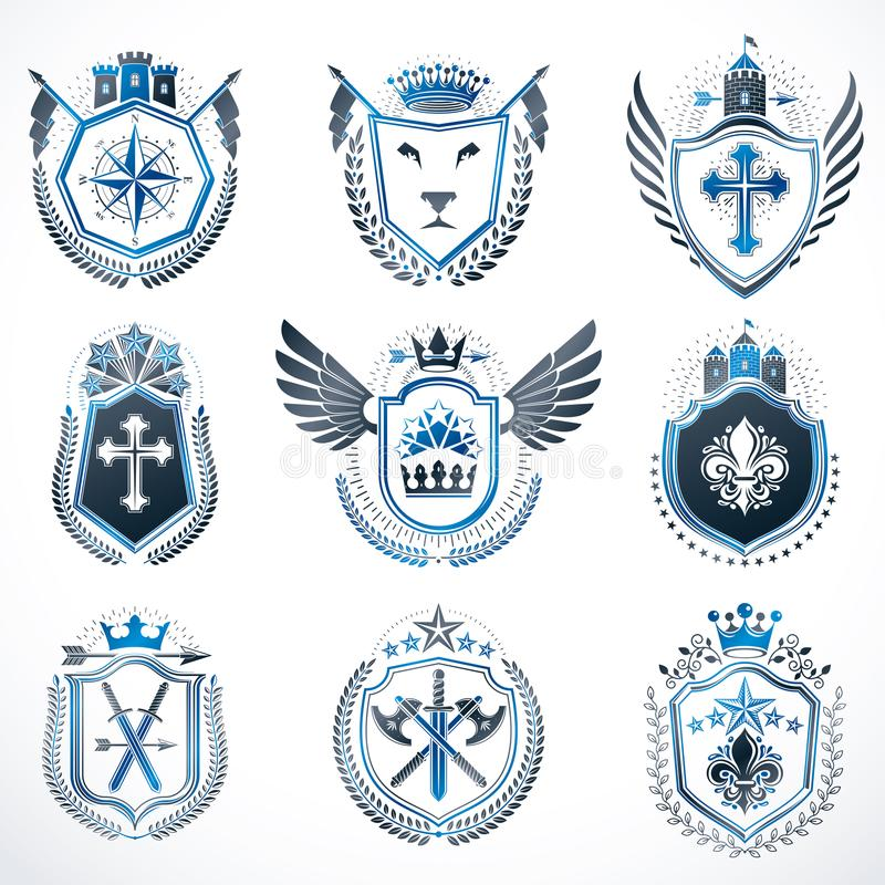 Sistema de emblemas del vintage creados con los elementos decorativos l ilustración del vector