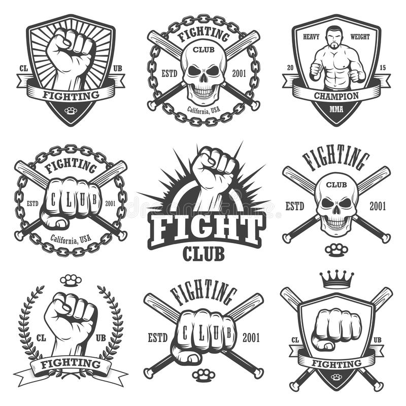 Sistema de emblemas frescos del club que luchan libre illustration