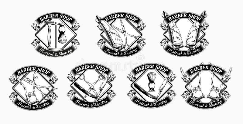 Sistema de emblemas de la barbería del vintage libre illustration