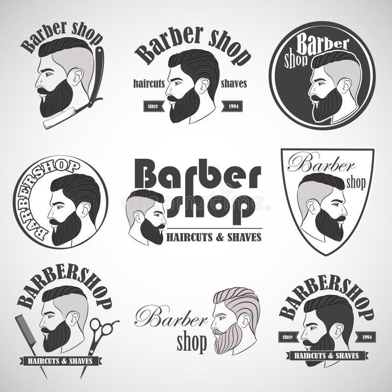Sistema de emblemas de la peluquería de caballeros del vintage, de etiqueta, de insignias y de elementos diseñados ilustración del vector