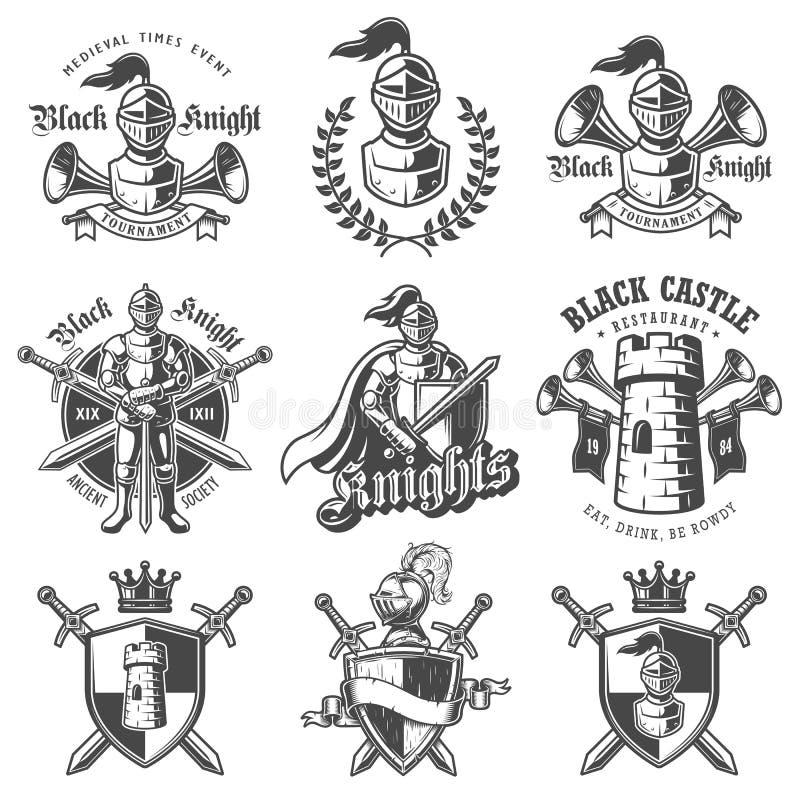 Sistema de emblemas monocromáticos de los caballeros libre illustration