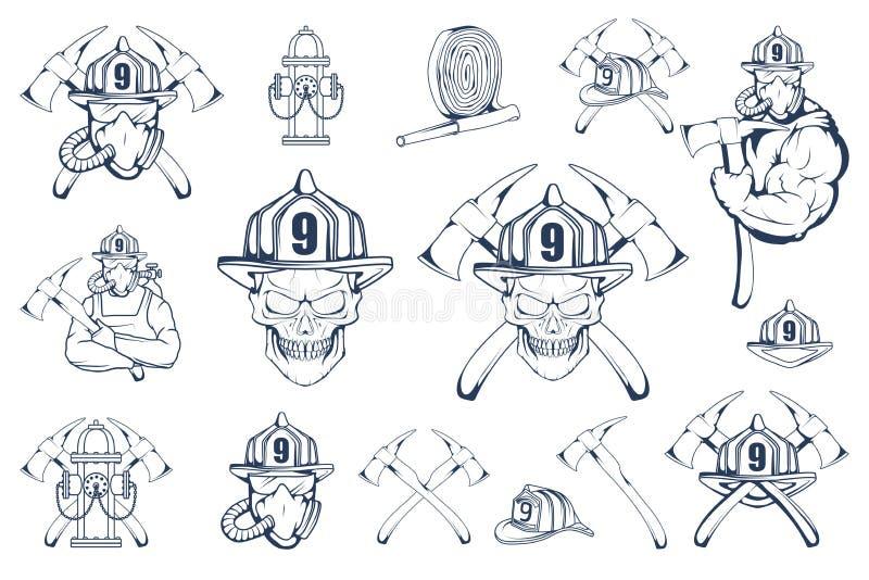 Sistema de emblemas y de elementos del bombero Logotipo contraincendios La cabeza del ` s del bombero en una máscara Etiqueta del ilustración del vector