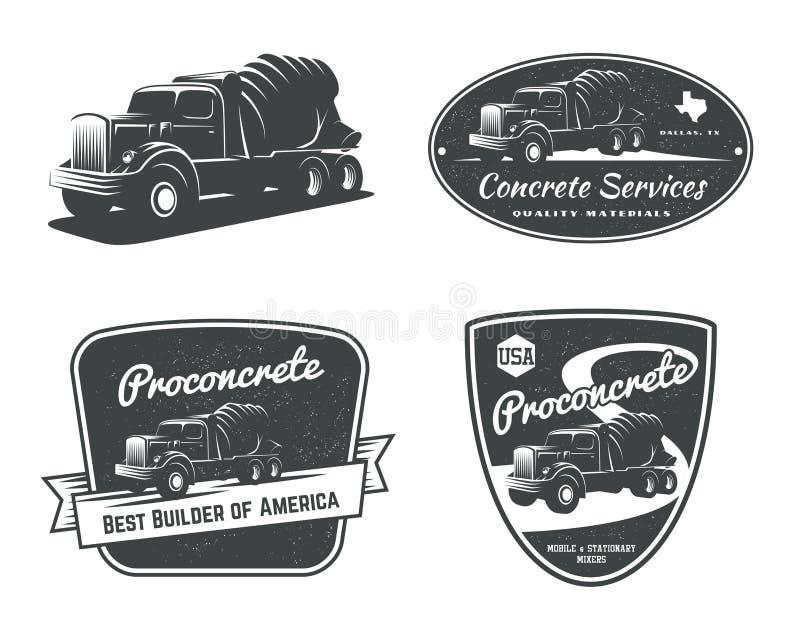 Sistema de emblemas y de insignias del truckdel mezclador concreto del vintage ilustración del vector
