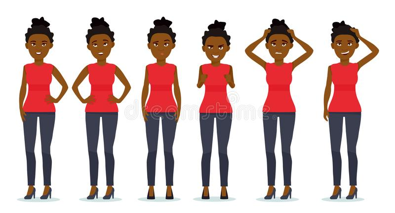 Sistema de emociones del ` s de la mujer Expresión facial Sistema de retratos emocionales de la muchacha afroamericana hermosa Po stock de ilustración