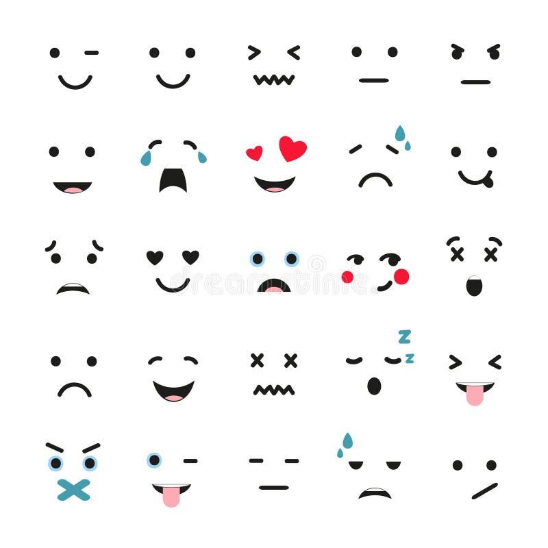 Sistema de emociones lindas aislado en blanco Vector de Emoji libre illustration