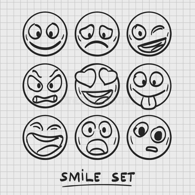 Sistema de emoji de la historieta Emoji del bosquejo stock de ilustración