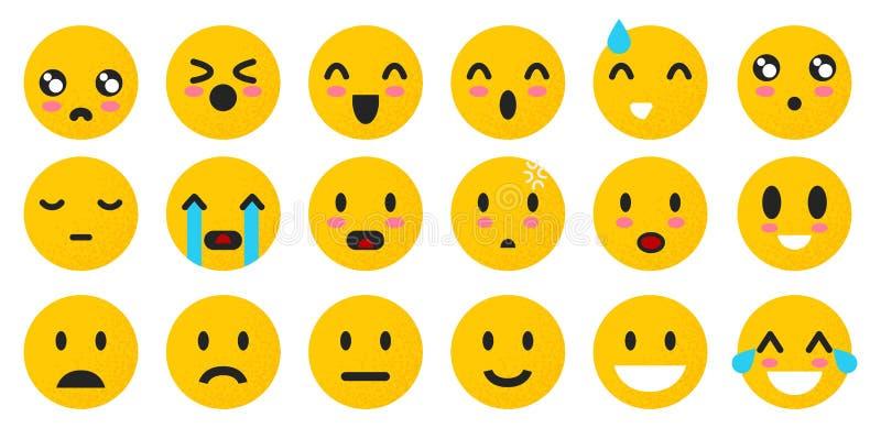 Sistema de emoticons amarillos Cara aislada de la sonrisa Humor de Emoji en el fondo blanco Caracteres del ejemplo del vector par libre illustration