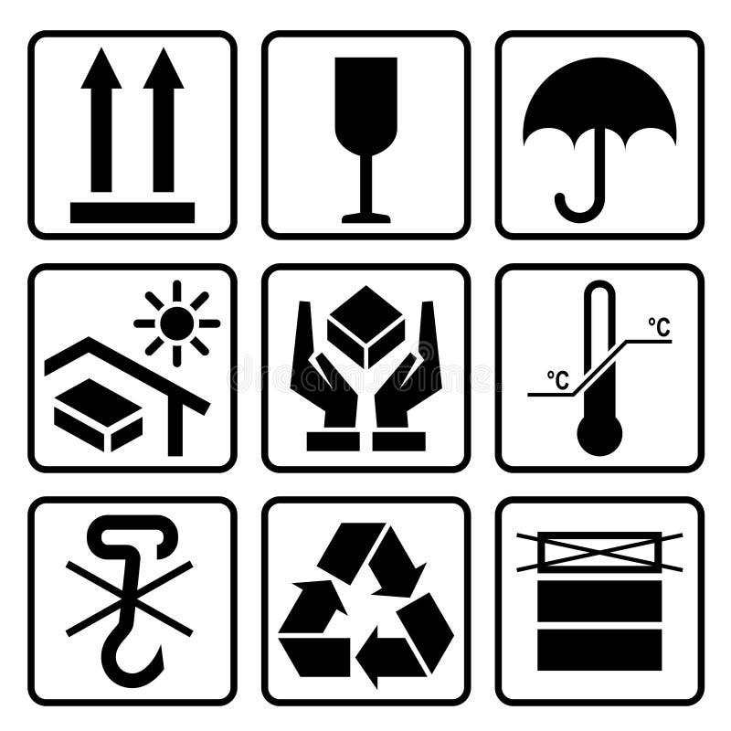 Sistema de empaquetado del icono de la cartulina stock de ilustración