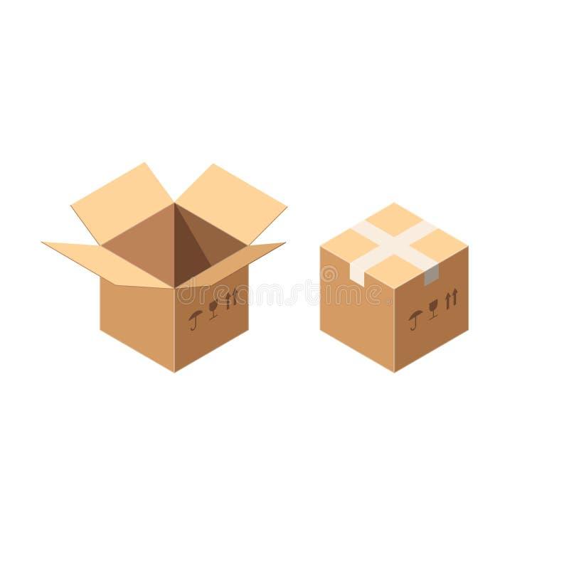 Sistema de empaquetado del icono de las cajas del cartón o de cartón del vector isométrico aislado en blanco Cajas selladas y des libre illustration