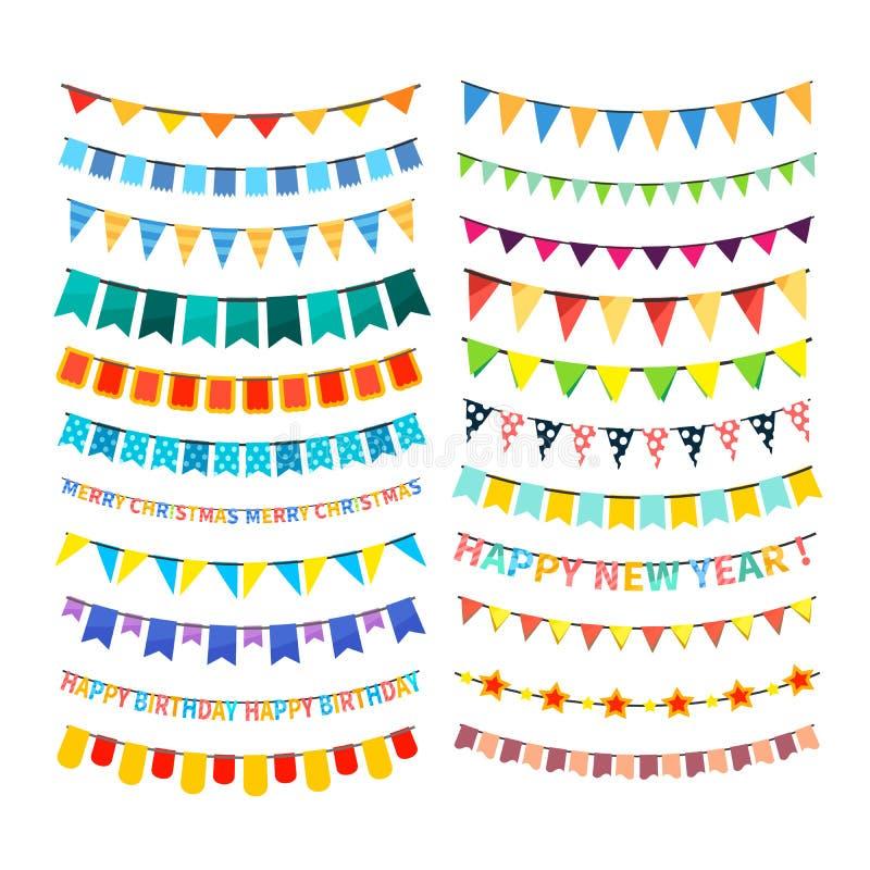 Sistema de empavesado colorido y de guirnaldas aislados en blanco stock de ilustración