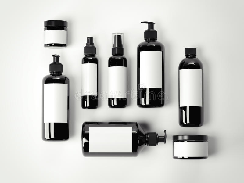 Sistema de envases de plástico cosméticos de la belleza negra representación 3d stock de ilustración
