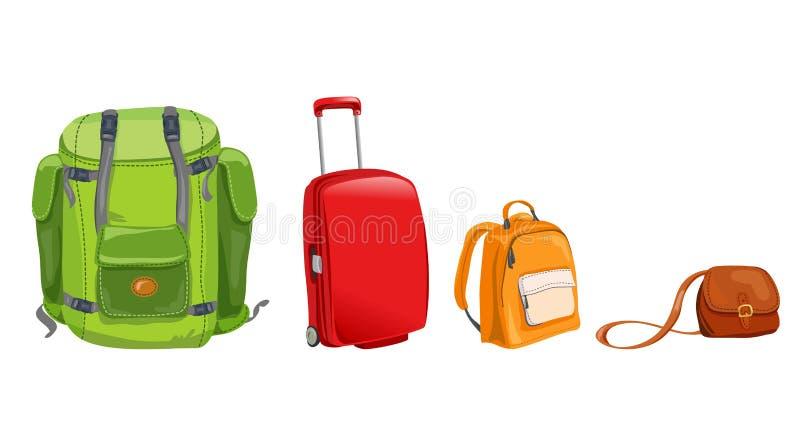 Sistema de equipaje para el viaje ilustración del vector