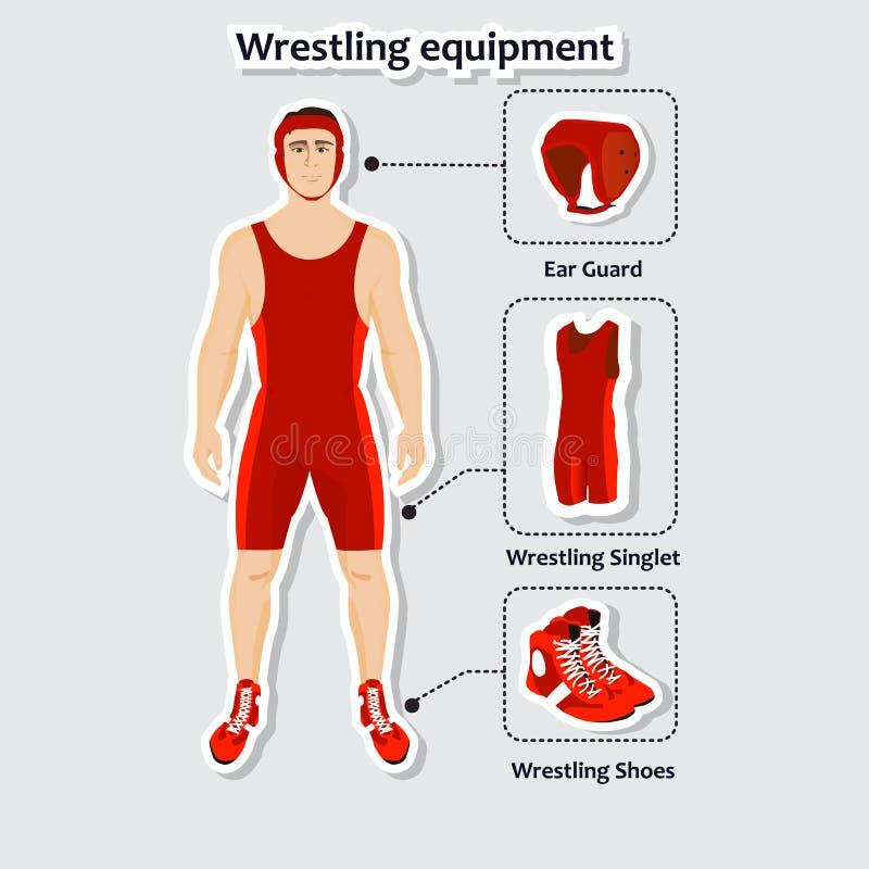Sistema de equipo de lucha con el hombre Camiseta, zapatos y guardia del oído ilustración del vector