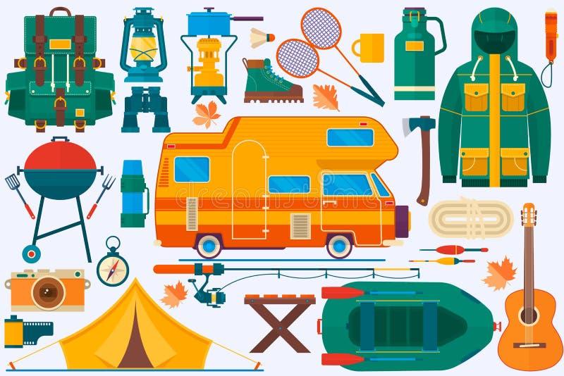 Sistema de equipo para el viaje, reconstrucción, aventura Mochila del equipo de la colección que acampa, barco, autohouse, montañ libre illustration