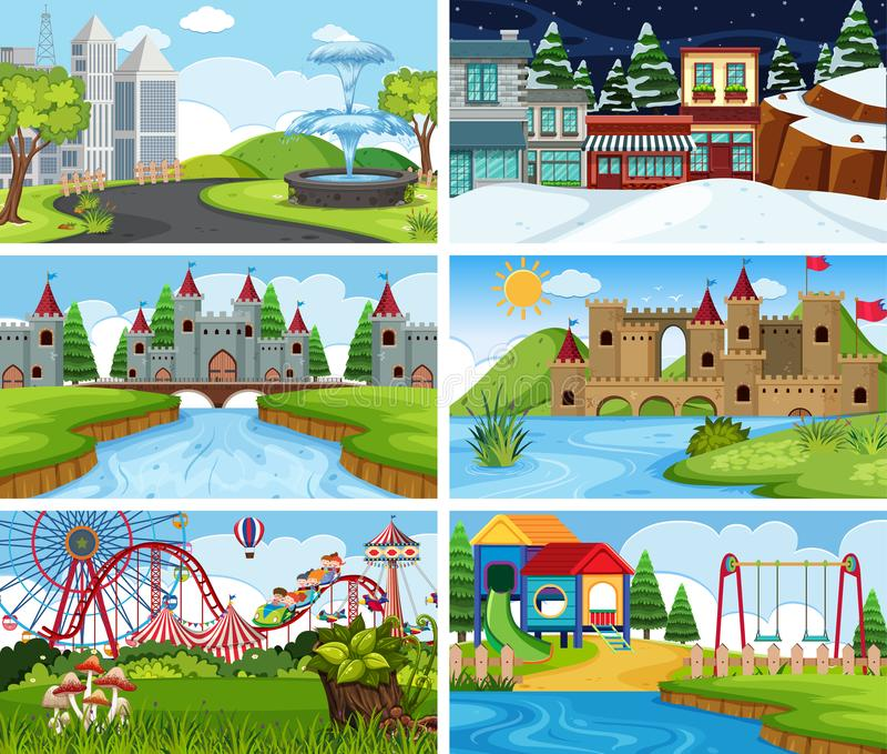 Sistema de escenas al aire libre ilustración del vector