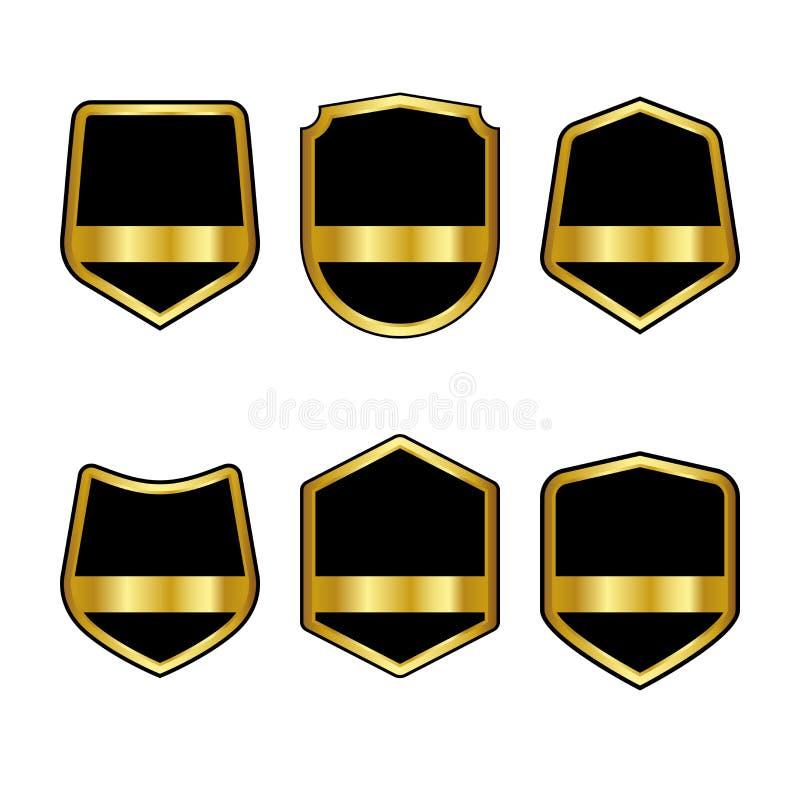 Sistema de escudos negros con las cintas de oro en estilo plano de moda aisladas en el fondo blanco Logotipo de Herald y símbolo  stock de ilustración