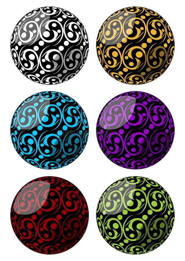 Sistema de esferas con swirly la decoración del modelo en diversas variantes del color libre illustration
