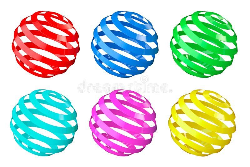 Sistema de esferas espirales abstractas stock de ilustración
