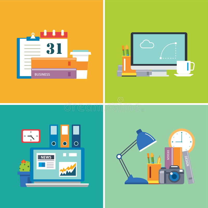 Sistema de espacio de trabajo diseñador, negocio, estudiante stock de ilustración