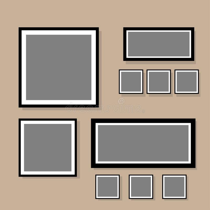 Sistema de espacio en blanco del collage del marco de la foto con el ejemplo plano del vector del diseño libre illustration