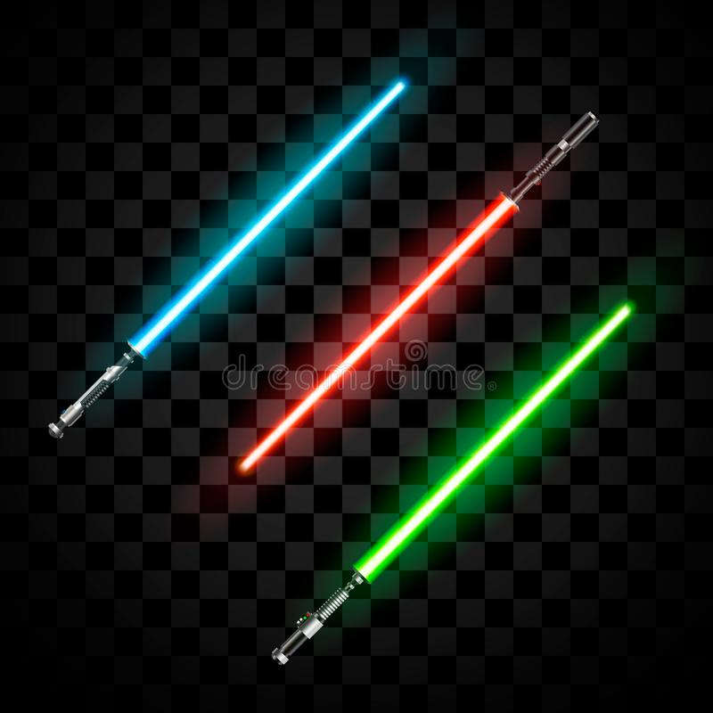 Sistema de espadas ligeras futuristas Sable abstracto de la fantas?a Ejemplo del vector aislado en fondo oscuro stock de ilustración