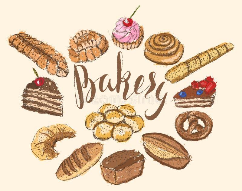 Sistema de esquemas dibujados mano de los productos de la panadería con el terraplén multicolor abstracto, poniendo letras a la p libre illustration