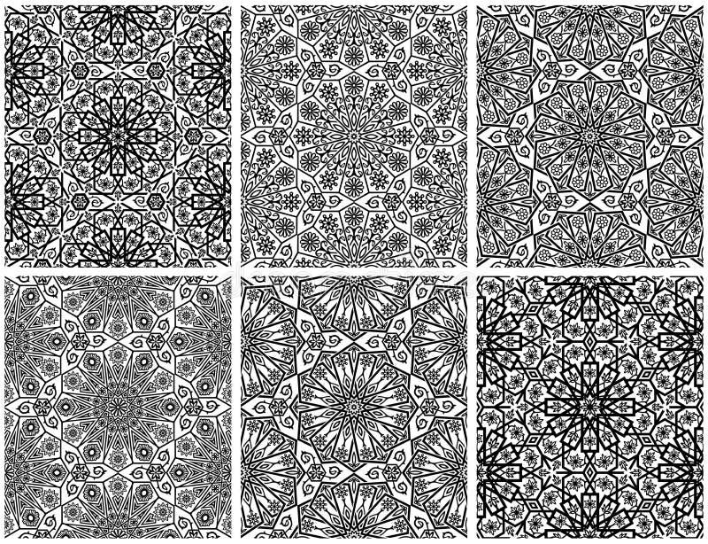 Sistema de estampados de flores inconsútiles con el ornamento tradicional ilustración del vector