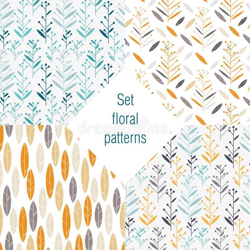 Sistema de estampados de flores retros libre illustration