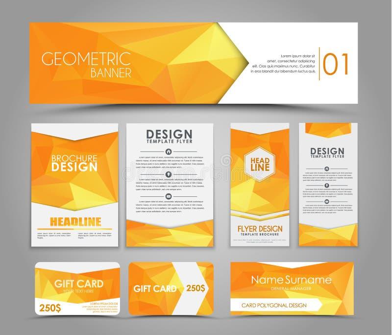 Sistema de estilo corporativo anaranjado poligonal stock de ilustración