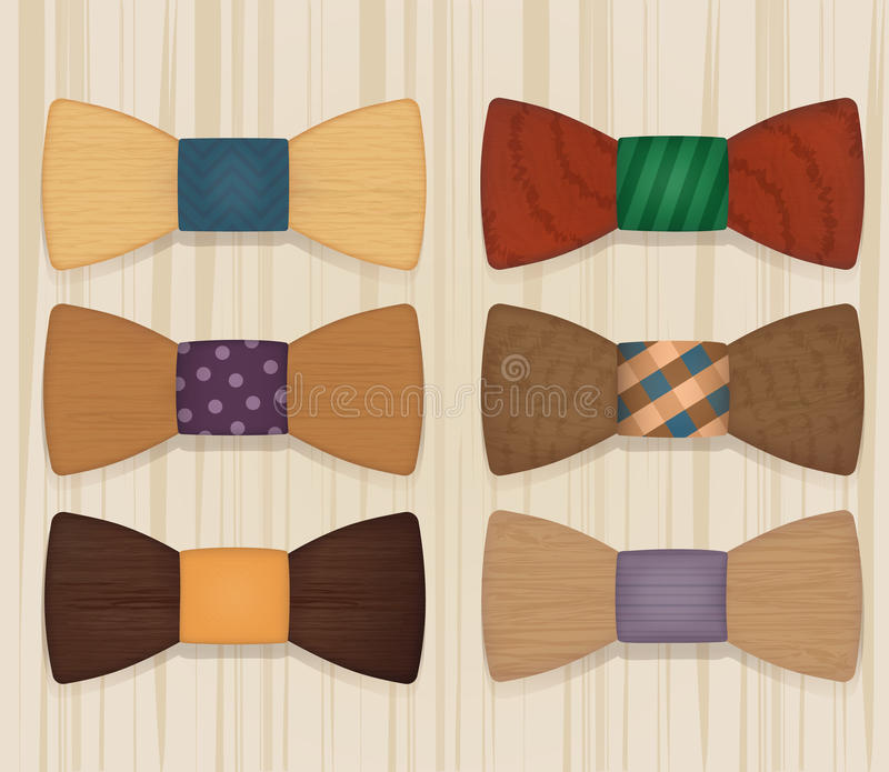 Sistema de estilo de madera de los objetos de las corbatas de lazo stock de ilustración