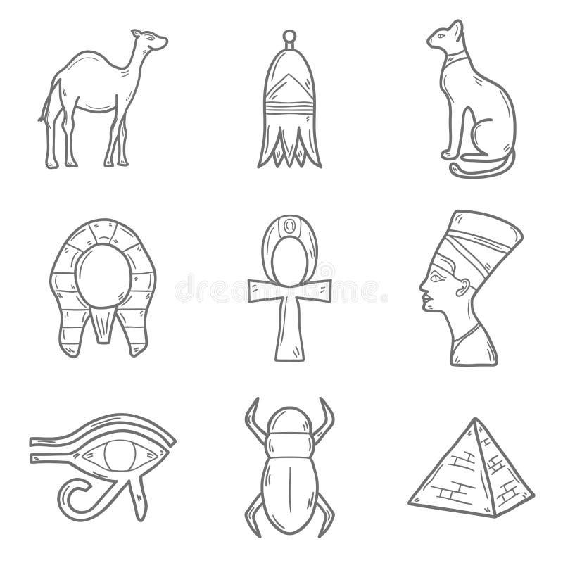 Sistema de estilo dibujado de los iconos del esquema de la historieta a disposición ilustración del vector