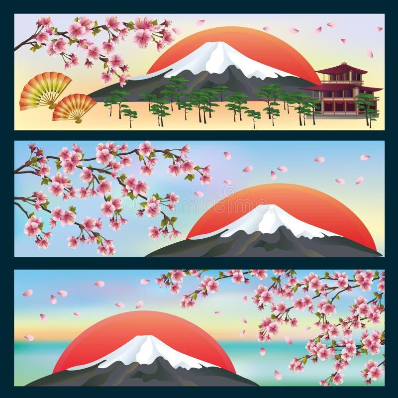 Sistema de estilo japonés de las banderas horizontales