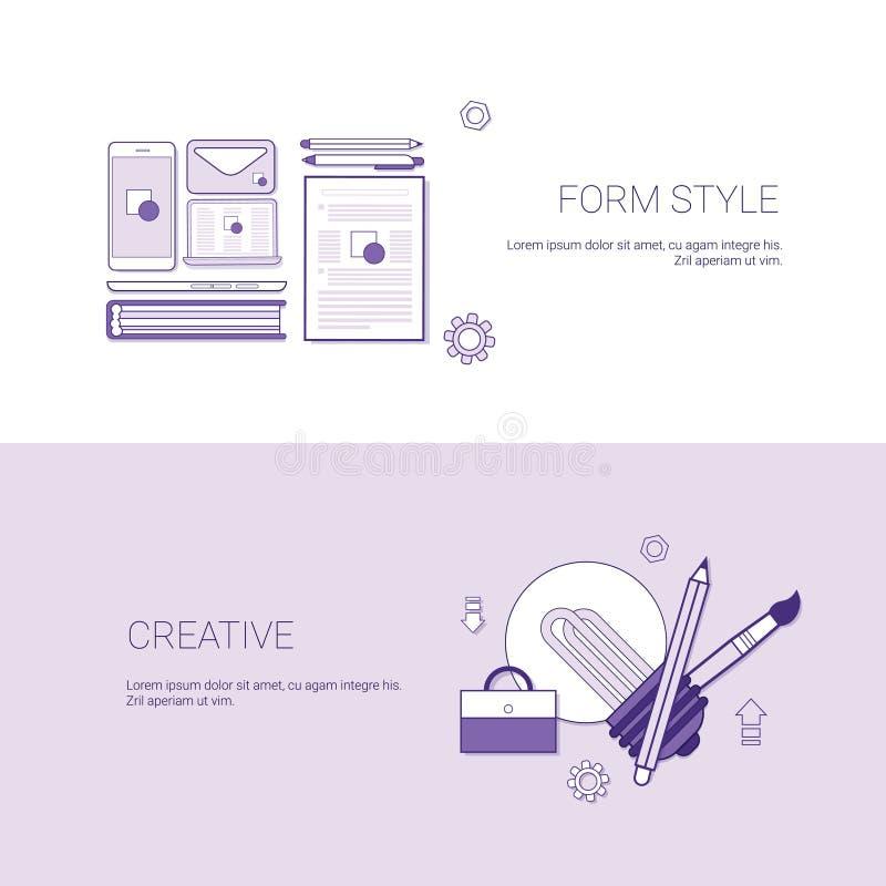 Sistema de estilo de la forma y de fondo creativo de la plantilla del concepto del negocio de las banderas con el espacio de la c ilustración del vector
