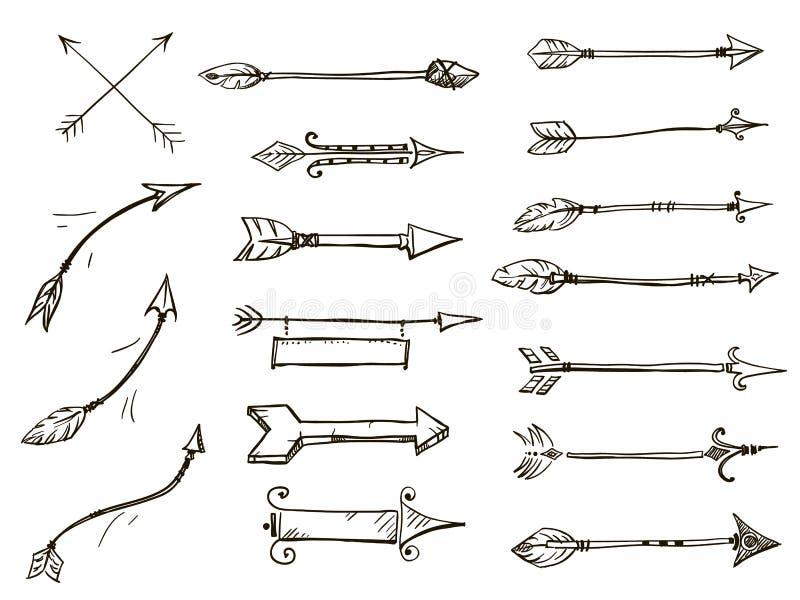 Sistema de estilo tribal de las flechas del garabato stock de ilustración