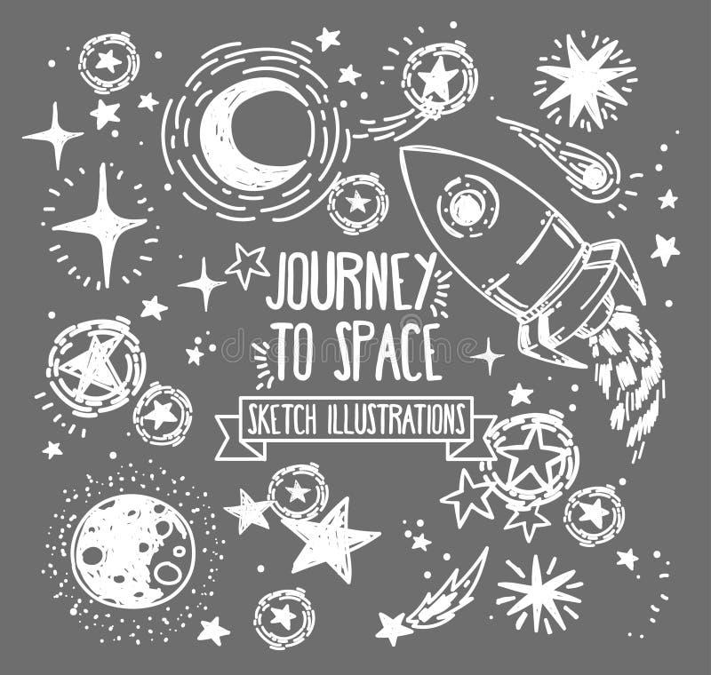 Sistema de estrellas, de cohete, de cometas y de planetas del bosquejo ilustración del vector